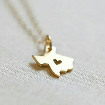 Small Texas Necklace - State Necklace - Pendant Necklace - Statement Necklace - PREORDER