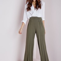 Missguided - Jersey Wide Leg Trousers Khaki