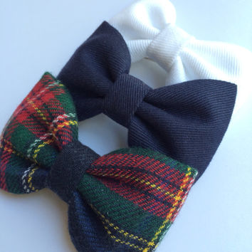 Navy blue, winter white and tartan plaid flannel bow lot.  Seaside Sparrow perfect bows.