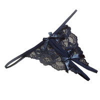 women G String Open fork Transparency tanga bowknot Women Underwear Featured Strappy Sexy Panties BL