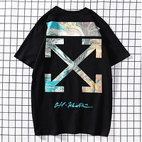 Off White Fashion New Arrow Print Women Men Top T-Shirt Black