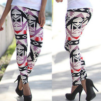 All Season Fashionable Stretchable Patterned Floral Printed Pants Leggings A951