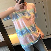 Louis Vuitton LV New Couple Printed Colorblock Casual Top T-shirt Pink