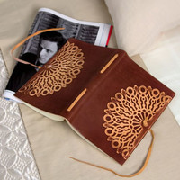Vetro Stamped Brown Italian Leather Journal with Tie-(6