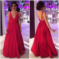 2017 Red V Neck Empire Prom Dress, Backless A Line Satin Formal Gown