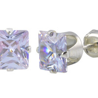 Lavender CZ Stud Earrings June Birthstone Prong Sterling Silver Cubic Zirconia