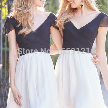 2017 Chiffon Bridesmaids Dress Gown White To Party Prom Formal Dresses Mini/Short Custom Made Chiffon V Neck Maid Of Honor Dress