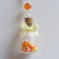 Halloween Candy Corn Bottle Necklace Pendant - Miniature Food Jewelry
