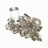 9/16 1/2 7/16 00g 0g 2g 4g 1 PAIR Clear Vintage Inspired Rhinestone Flower Plugs Gauges Tunnels Studs Wedding Bridal Bridesmaid