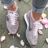 One-nice™ Nike Flyknit Racer Rainbow Casual Running Sport Shoes Sneakers