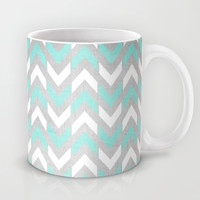 Teal & White Herringbone Chevron on Silver Wood Mug by Tangerine-Tane