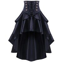 Black Lace Up Ruffles Vintage Gothic Skirt Women Plus Size MINI High Low Skirts Womens Punk Party Steampunk Skirt