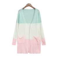 Women's Triple Color Long Sleeves Coat with 2 Front Pockets