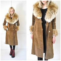 fur trimmed suede coat vintage 1970s 70s retro Almost Famous fur collar and cuffs long retro leather jacket small medium.