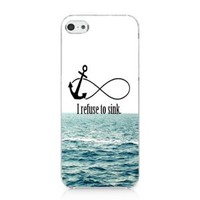 CRHK® I Refuse To Sink Anchor Infinity Quote Pattern Clear Back Skin Snap on Case Cover for 2013 Apple iPhone 5C + Screen Protector + CRHK stylus
