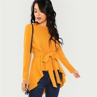 Elegant Blouse Women Self Belted Hem Top Office Ladies Workwear Womens Shirt Long Sleeve Blouses