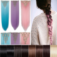"""26"""" 66cm Women Long Straight Clip in hair Extentions 8PCS Full Head hair Extension 100% real thick brown pink red purple blue"""