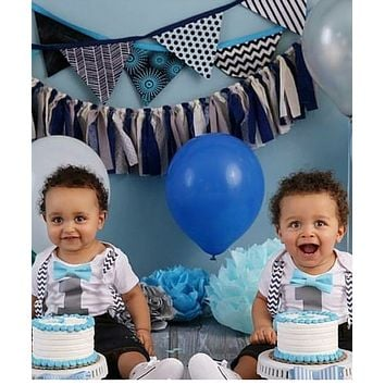 Grey Chevron with Aqua Boys First Birthday Outfit Suspenders Bow Tie