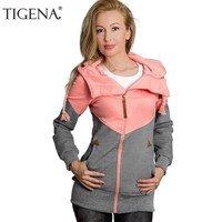 TIGENA Plus Size 5XL Velvet Hoodies Sweatshirt Women Long Sleeve Patchwork Zipper Jacket Hooded Sweatshirt Female Sweat Femme