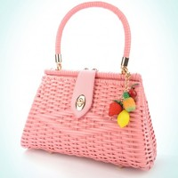 Wicker Purse in Pink with Fruit Charm