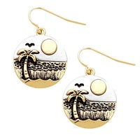 2-Tone Gold-Tone Silver-Tone Ocean Beach Scene (Sun Palm Tree Seagull Waves) Round Dangle Earrings 3/4""