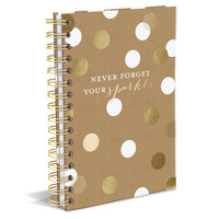 Never Forget Your Sparkle Hard Cover Journal in White and Metallic Gold