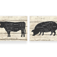 Kitchen Art Print Cow and Pig Hog Butcher Diagram  Set of Two - 5x7, 8X10, 11x14 Farm Animal Distressed Faux Wood Wall Art, Home Wall Decor,