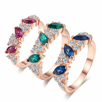 18K Rose Gold Plated Crystal Ring Jewelry Love Women Fashion Style 3 Colors