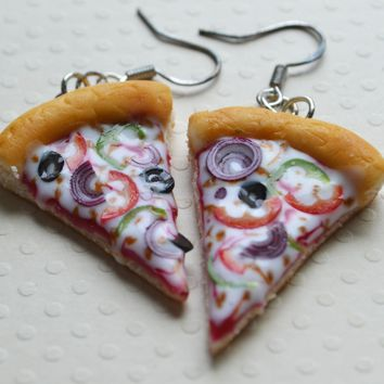 Veggie Pizza Slice Hook Earrings, Polymer Clay Food Jewelry