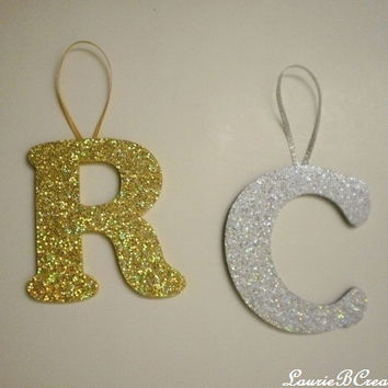 "GLITTER INITIAL ORNAMENT - Personalized Initial/Letter Ornament in Super Sparkling Silver or Gold Octagon/Prisma Style Glitter - 4"" A-Z"