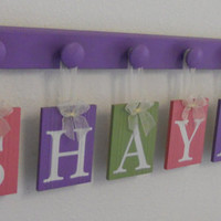 Baby Shower Gifts for Girls Purple, Green and Pink - Nursery Letters Set Includes Wood Name - SHAYNA and 6 Wooden Hangers Lilac