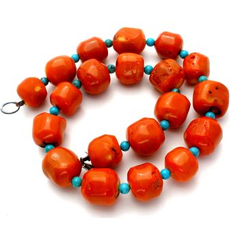 Coral & Turquoise Bead Necklace 18""
