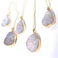 GOLD DIPPED purple crystal quartz  druzy drusy necklace by aaanouk