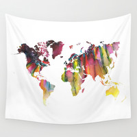 Watercolor colored map world Wall Tapestry by Jbjart