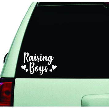 Raising Boys Wall Decal Car Truck Window Windshield JDM Sticker Vinyl Lettering Quote Boy Girl Funny Racing Mom Dad Family Trendy Son Love Hearts