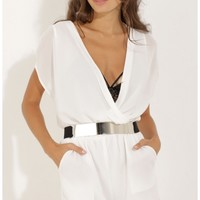Playsuits/Jumpsuits > Short Sleeve Playsuit in White