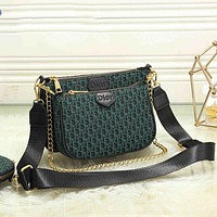 Dior CD hot selling three-piece set classic zipper one shoulder messenger bag ladies chain bag coin purse