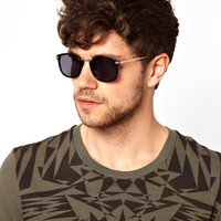 ASOS   ASOS Small Square Sunglasses With Vintage Look Frame at ASOS