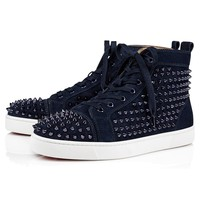 Christian Louboutin Cl Louis Men's Flat Suede Marine/marine Metal Sneakers - Best Deal Online