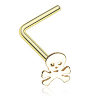 Golden Color Pirate Skull L-Shaped Nose Ring - 20 G - Sold as a Pair