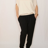 Ivory top Loose fit sweater Batwing sleeve off white top for women Office fashion