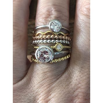 The Barcelona,  An Architectural Beads Diamonds Zig Zag Stacking Set