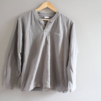 Columbia Sweatshirt Gray Long Tee Henley Shirt Cotton Pullover Zip Up Henley Cotton Vintage Minimalist Unisex 90s Size M
