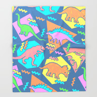 Nineties Dinosaur Pattern Throw Blanket by Chobopop