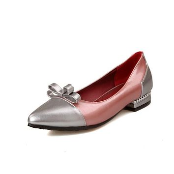 Girls's Color Matching Pointed Bow Low Heeled Pumps