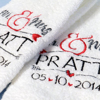Mr & Mrs Towels- Set of Two- Personalized Wedding Gift- Embroidered Custom Towels- New Last Name- Personalized Bridal Shower Gift- New Home