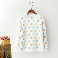 White Star Patterned Sweater