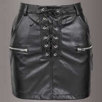 Fade to Black Faux Leather Mini Skirt