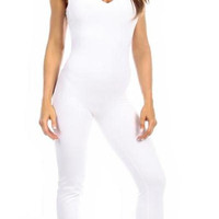 Sexy Shred Stretch Supportive Cut Out Back Work Out Cat Suit - White