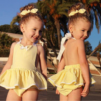 Baby Girl Infant Toddler Jumper Romper Dress Backless High Quality Yellow Jumpsuit Outfit Cute Headband Summer